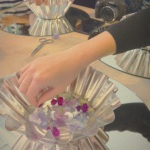 Hands on the flowered jelly